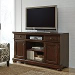 Ashley Porter W697-132 62″ XL TV Stand Including 2 Drawers 4 Shelves 2 Doors and Fireplace Option with Hole(s) for Wiring and Adjustable Shelf in Rustic