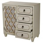 Heather Ann Creations 4 Drawer Wooden Accent Chest and Cabinet, Multi Clover Pattern Grille with Mirrored Backing, 30.75″H x 29.5″W, Beige/Gold