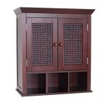 """Cane Wall Mounted Bathroom Cabinet with 3 Cubbies in Expresso Brown Finish Traditional Style 24"""" H x 22.5"""" W x 8.5"""" D"""