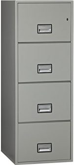 Phoenix Vertical 25 inch 4-Drawer Legal Fireproof File Cabinet – Light Gray