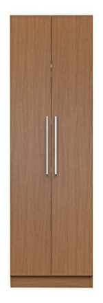 Manhattan Comfort Chelsea Double Hanging Closet 1.0 Collection Standing Closet Wardrobe Cabinet with Double Hanging Rods and Storage Shelf with Door, 27″ W x 21″ D x 90″ H, Maple Cream