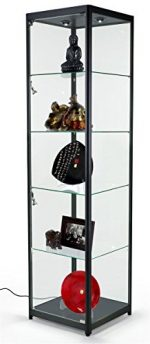 Tempered Glass Curio Cabinet With 6 Halogen Lights, Free-Standing, Locking Hinged Door, Floor Levelers And 4 Green Edge Glass Shelves – Black, Aluminum