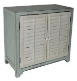 Cheung's Rattan Imports Shabby Blue Cabinet with White Shutter Doors