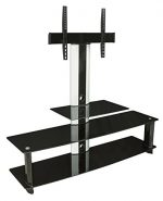 Mount-It! MI-869 TV Stand with Mount, Entertainment Center for Flat Screen TVs Between 32 to 60 Inch, 3 Glass Shelves and Aluminum Columns, VESA Compatible TV Mount, Black/Silver
