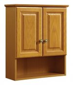 Design House 531962 21-Inch by 26-Inch Claremont Ready-To-Assemble 2 Door Bathroom Wall Cabinet, Honey Oak