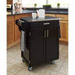 "Indoor Rolling Home Styles Portable Table On Wheels Kitchen Cabinet Storage Multipurpose Cart, Black / Stainless Steel Top 32.5""L x 18.75""D x 35.5""H"