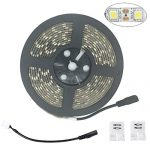 LED Strip Lights, SurLight Waterproof 16.4Ft/5M 300LEDs SMD 5050 12V DC Flexible LED Light Strips, 6000K Daylight White, LED Rope Lights for Home Kitchen Car Bar Cabinet Closet Indoor Outdoor Use